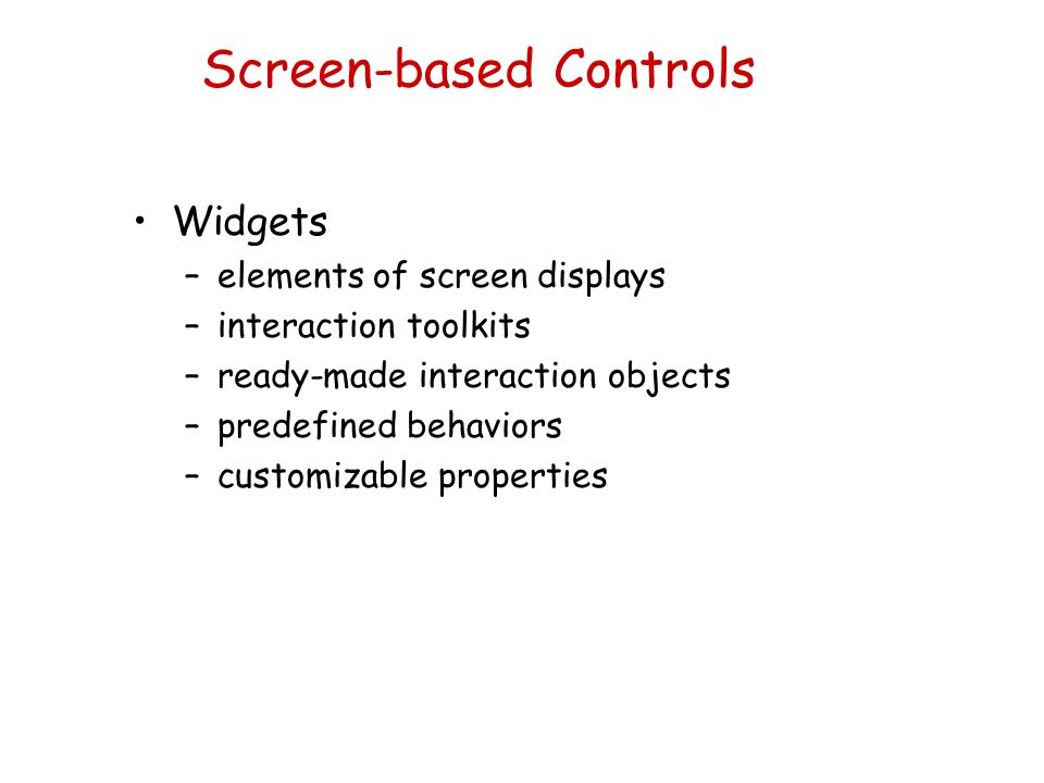 Screen-based Controls