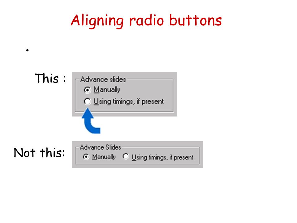 Aligning radio buttons