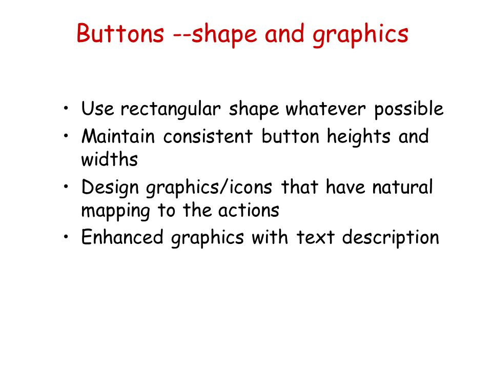 Buttons --shape and graphics