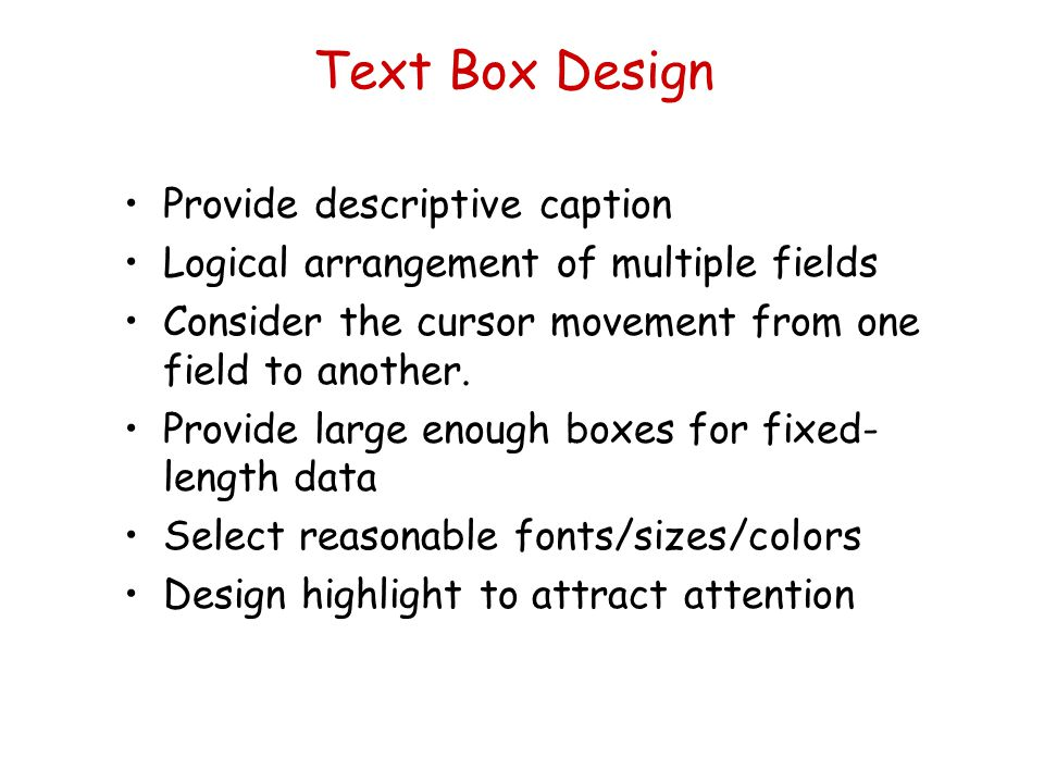 Text Box Design Provide descriptive caption