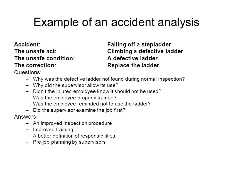Example of an accident analysis