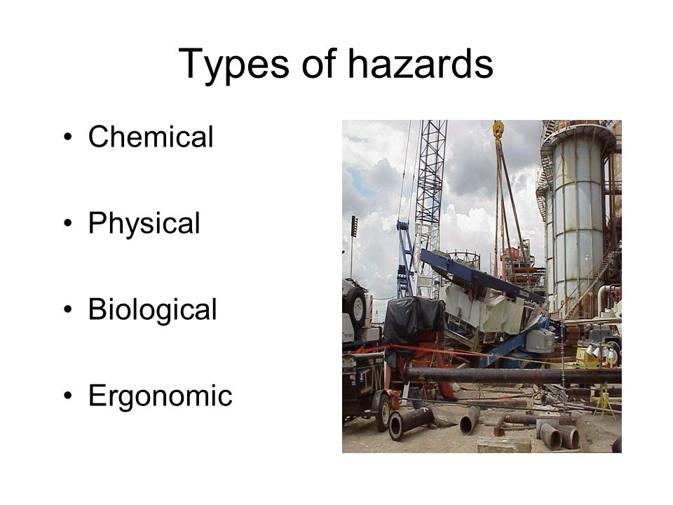 Types of hazards Chemical Physical Biological Ergonomic