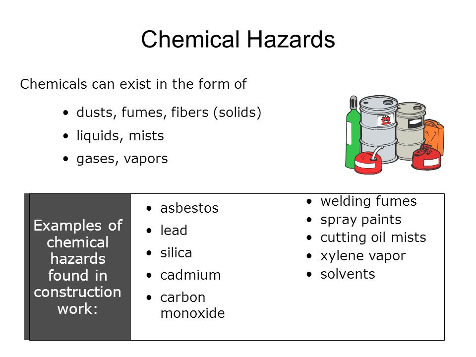 Examples of chemical hazards found in construction work: