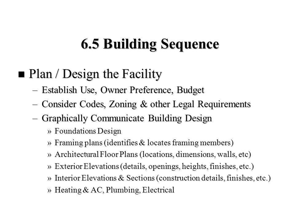 6.5 Building Sequence Plan / Design the Facility