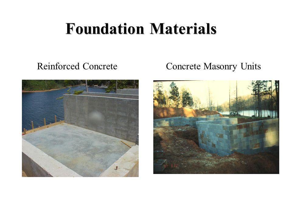 Foundation Materials Reinforced Concrete Concrete Masonry Units