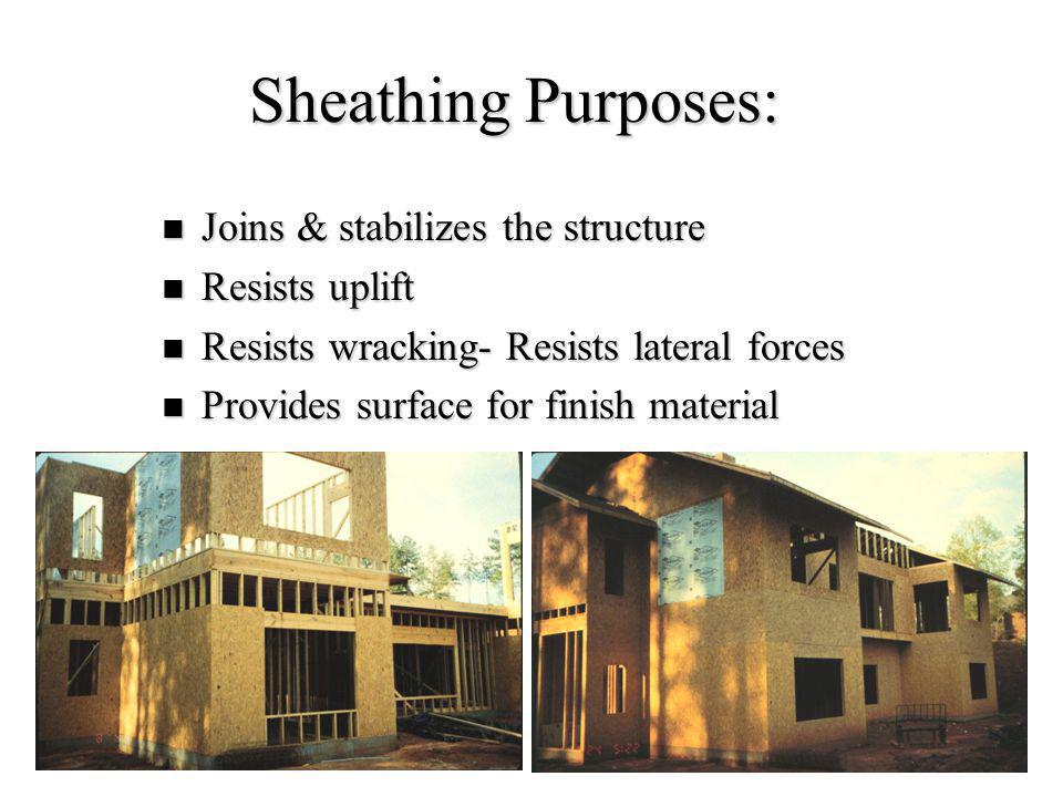 Sheathing Purposes: Joins & stabilizes the structure Resists uplift