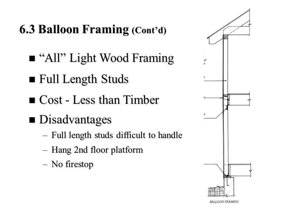 6.3 Balloon Framing (Cont'd)