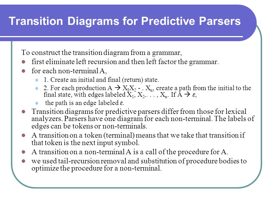 Transition Diagrams for Predictive Parsers