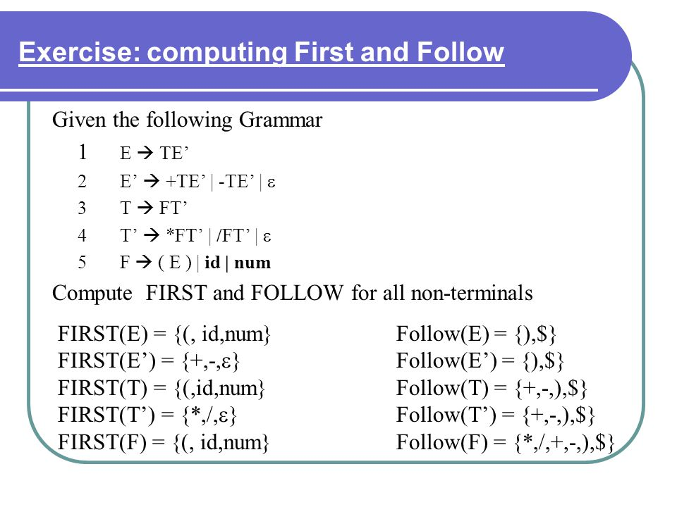 Exercise: computing First and Follow