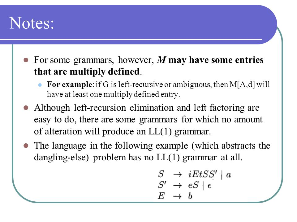 Notes: For some grammars, however, M may have some entries that are multiply defined.