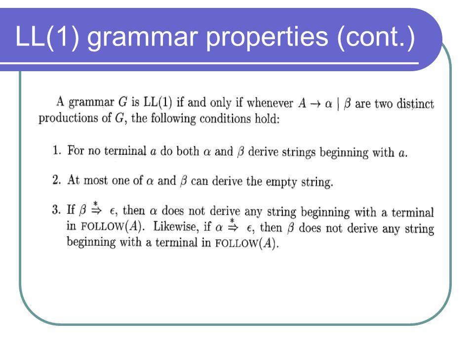 LL(1) grammar properties (cont.)