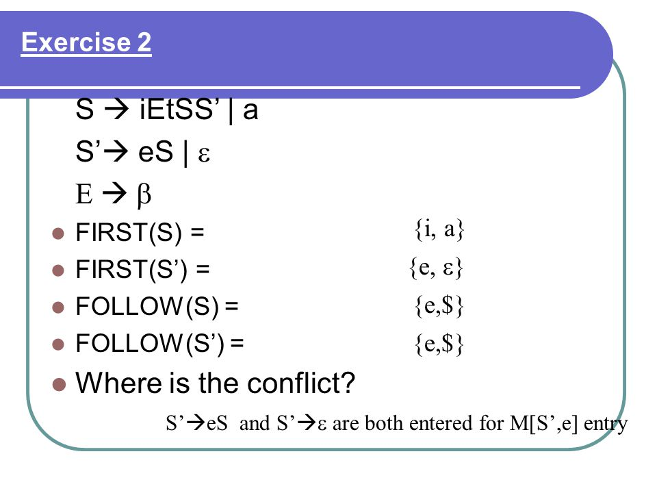 S  iEtSS' | a S' eS | e E  b Where is the conflict Exercise 2
