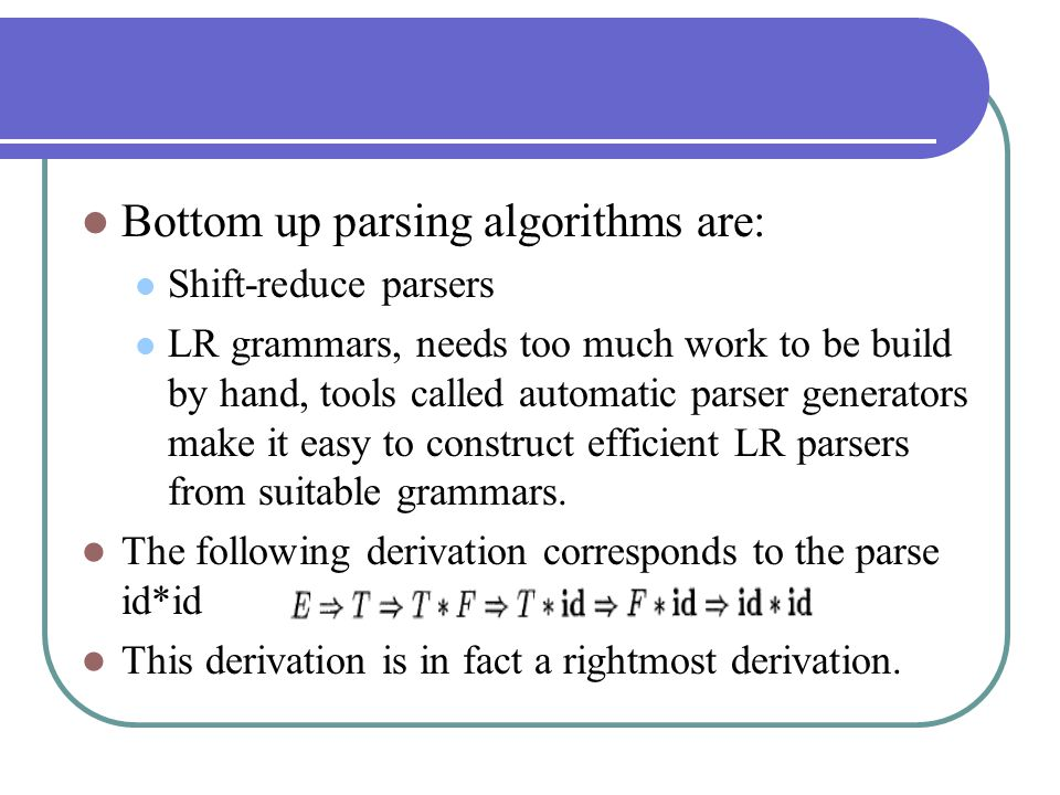 Bottom up parsing algorithms are: