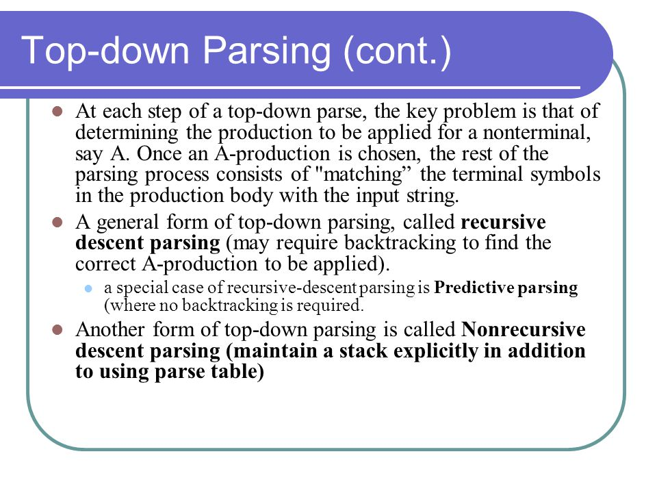 Top-down Parsing (cont.)