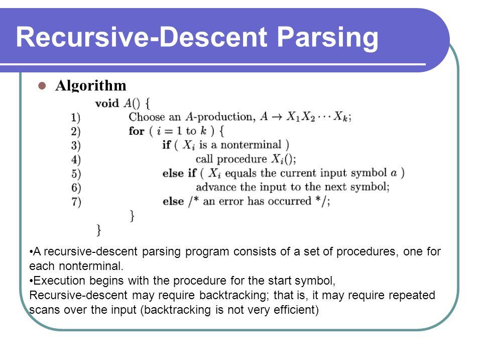 Recursive-Descent Parsing