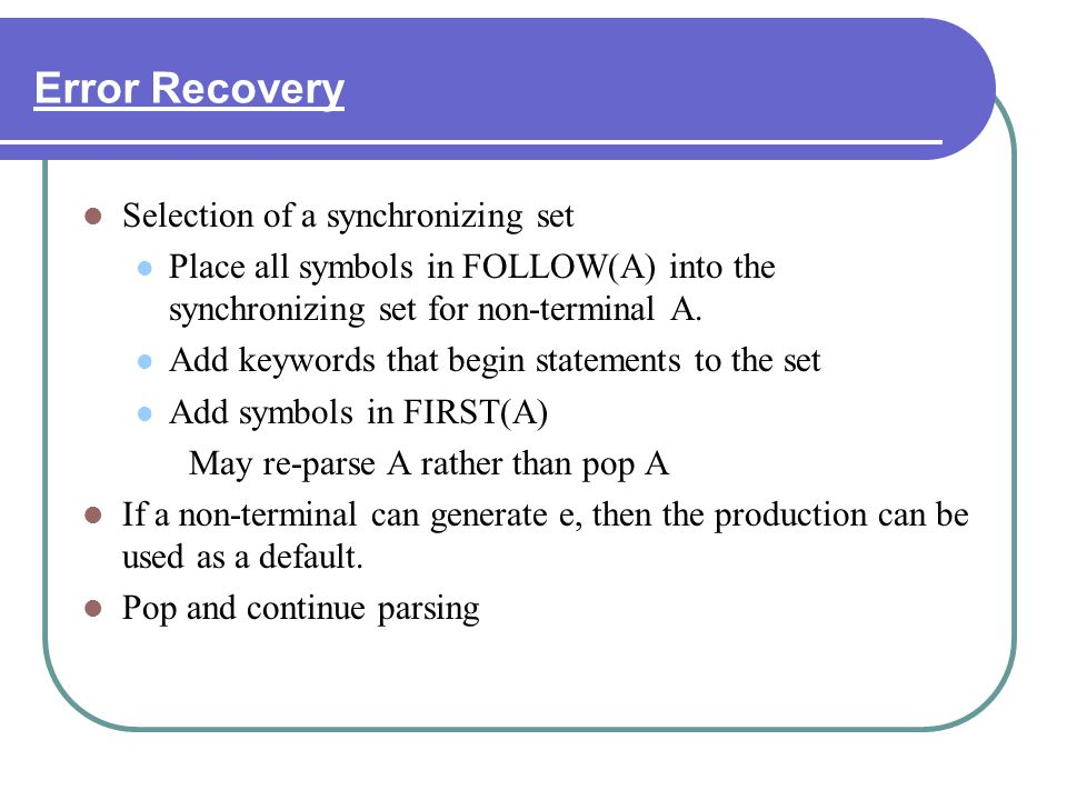 Error Recovery Selection of a synchronizing set