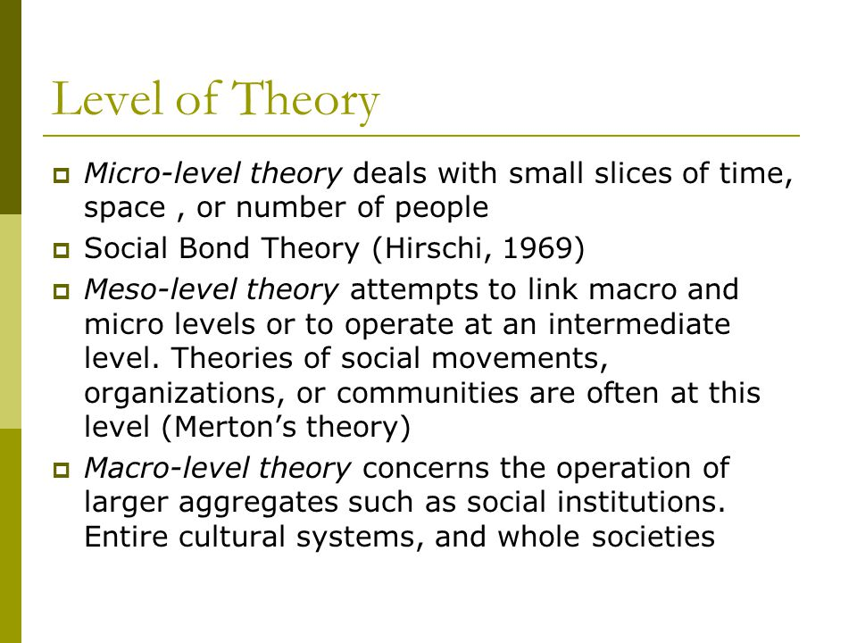 Level of Theory Micro-level theory deals with small slices of time, space , or number of people. Social Bond Theory (Hirschi, 1969)