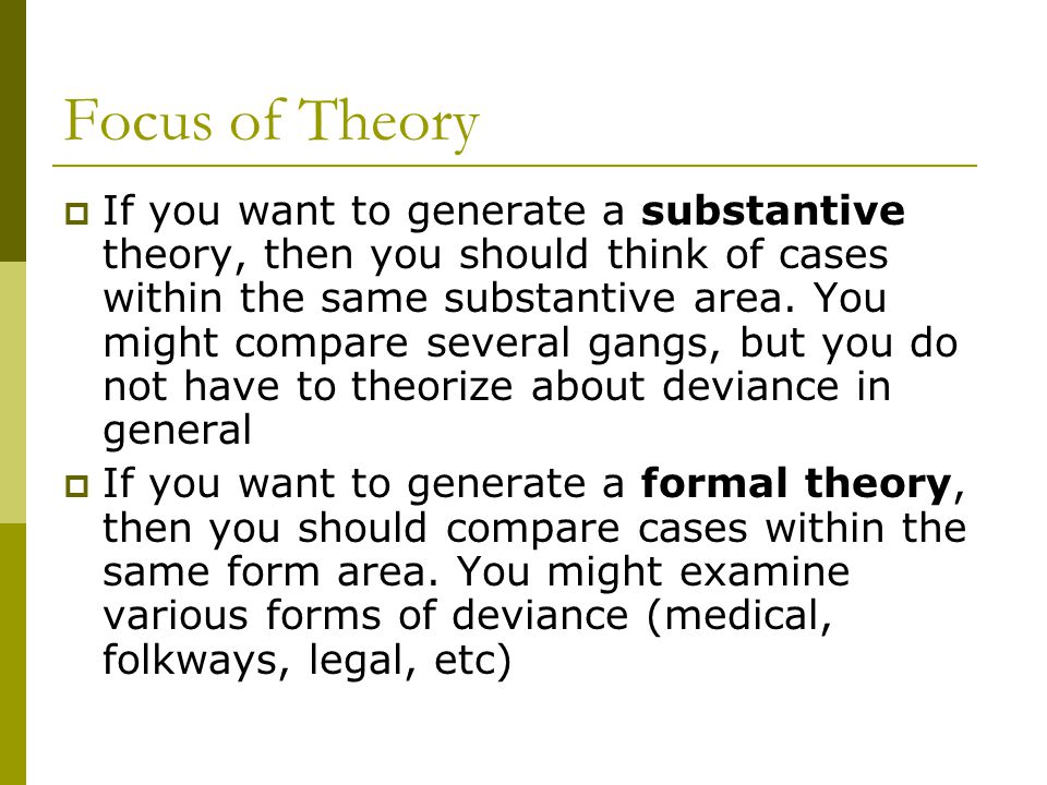 Focus of Theory