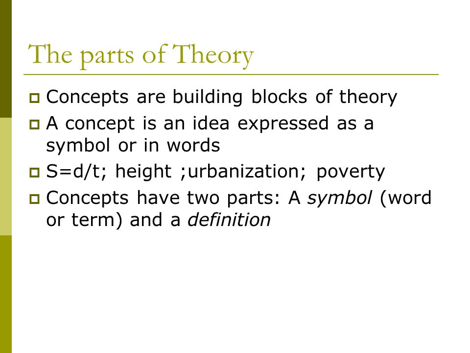 The parts of Theory Concepts are building blocks of theory