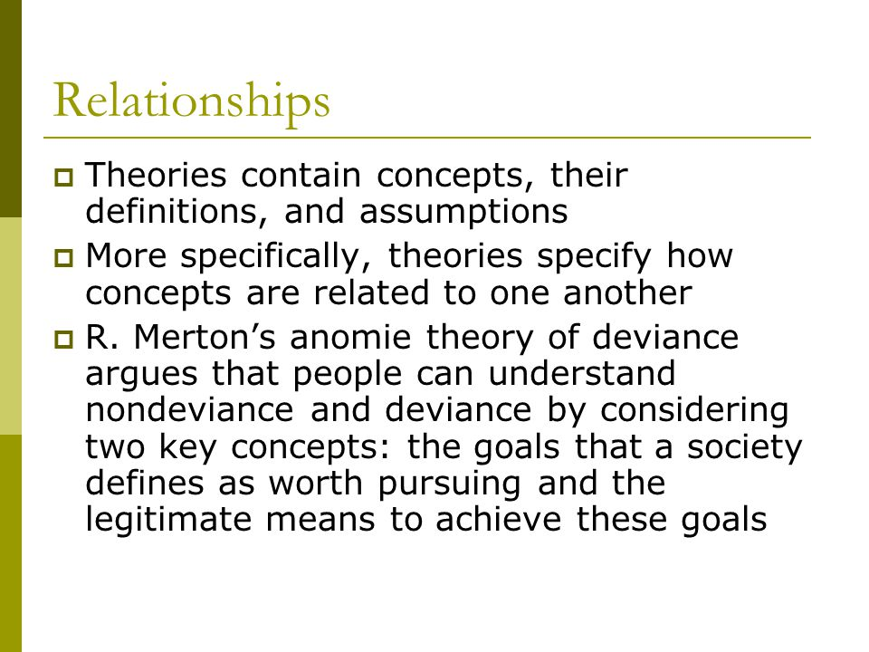 Relationships Theories contain concepts, their definitions, and assumptions.