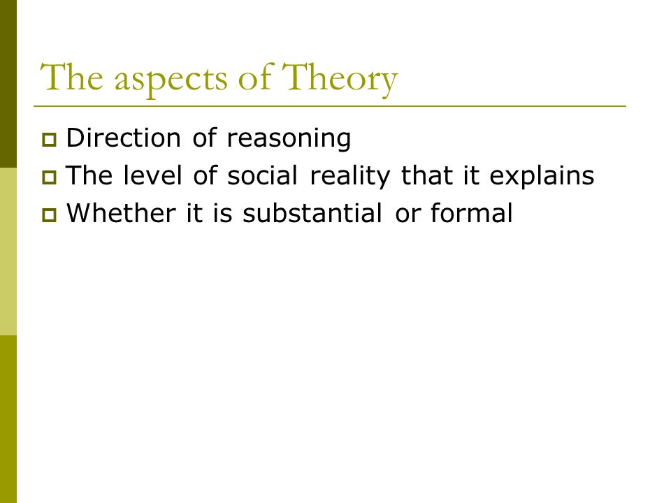 The aspects of Theory Direction of reasoning