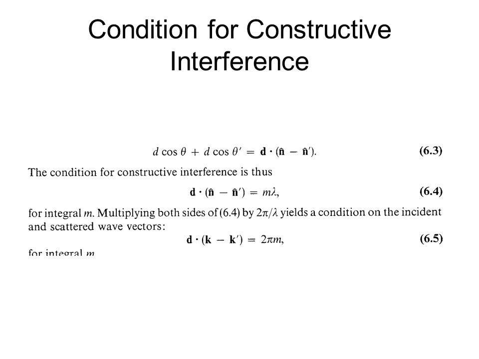 Condition for Constructive Interference