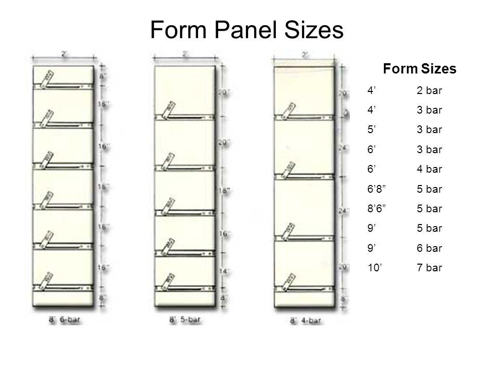Form Panel Sizes Form Sizes 4' 2 bar 4' 3 bar 5' 3 bar 6' 3 bar