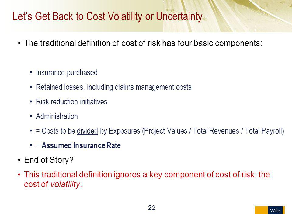 Let's Get Back to Cost Volatility or Uncertainty
