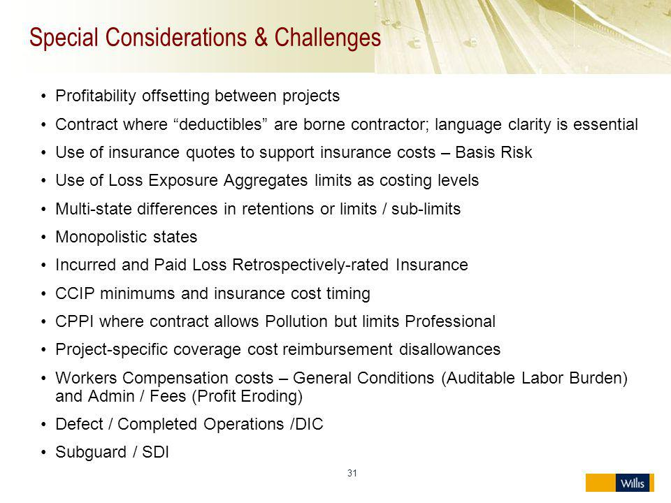 Special Considerations & Challenges