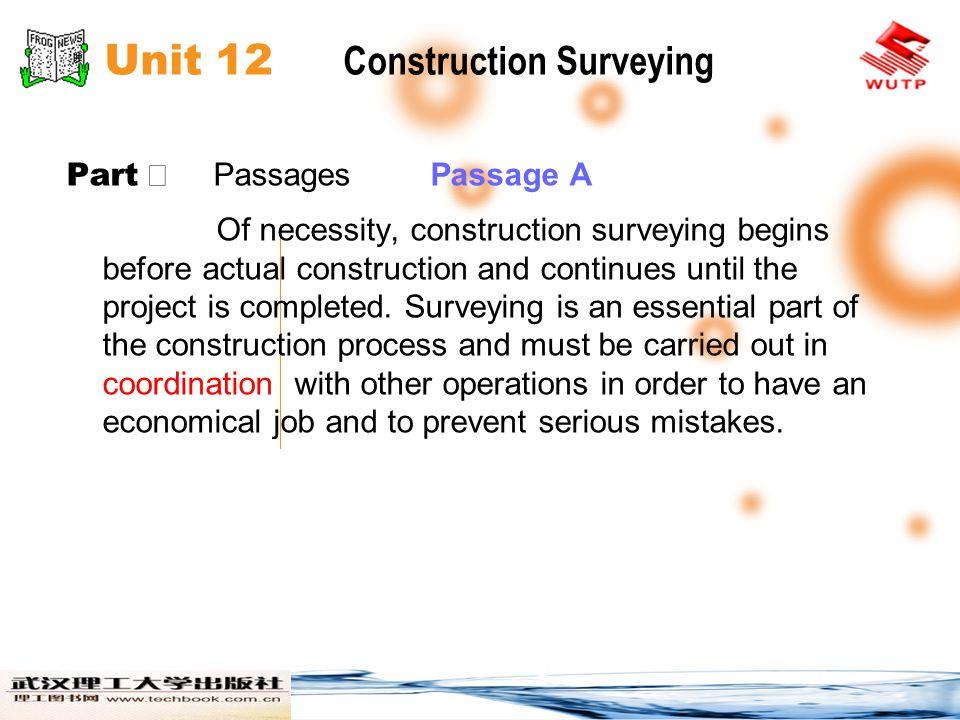 Unit 12 Construction Surveying