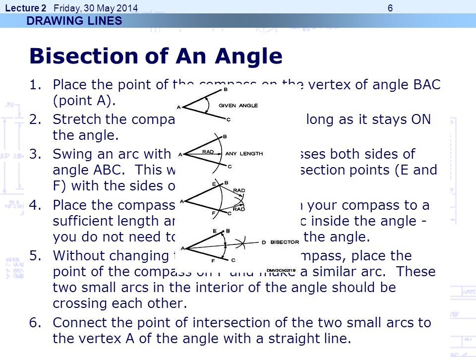 DRAWING LINES Bisection of An Angle. Place the point of the compass on the vertex of angle BAC (point A).