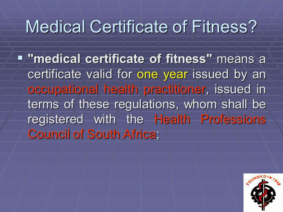 Medical Certificate of Fitness