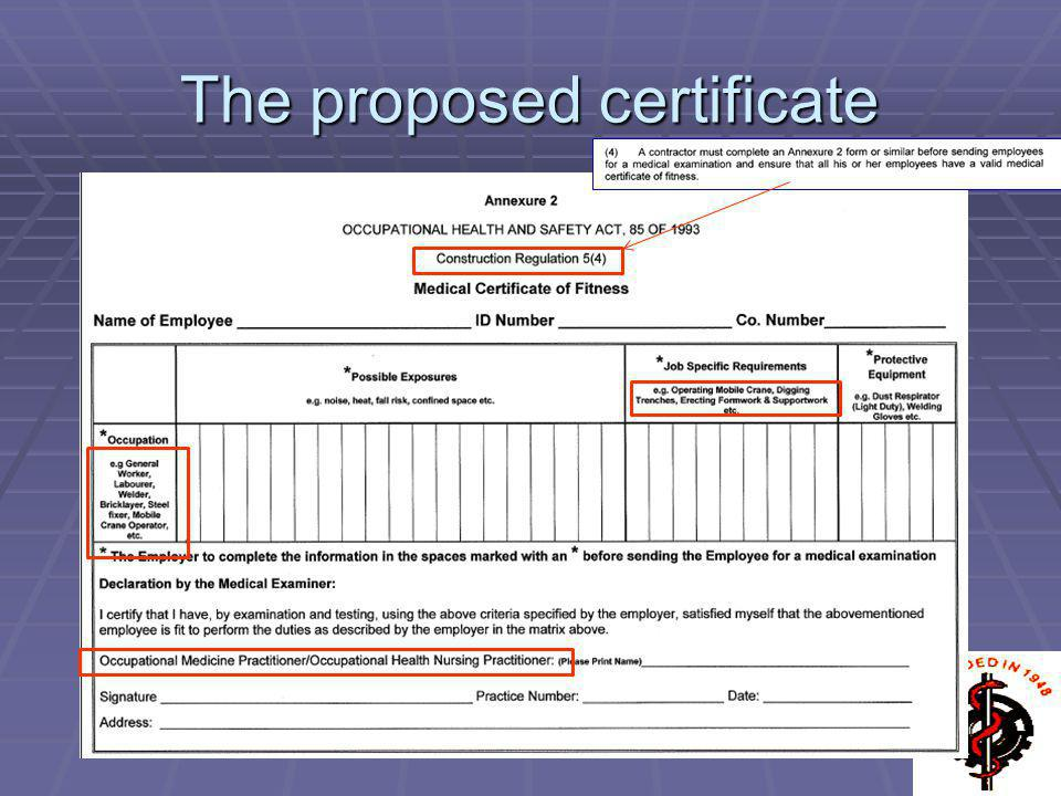 The proposed certificate