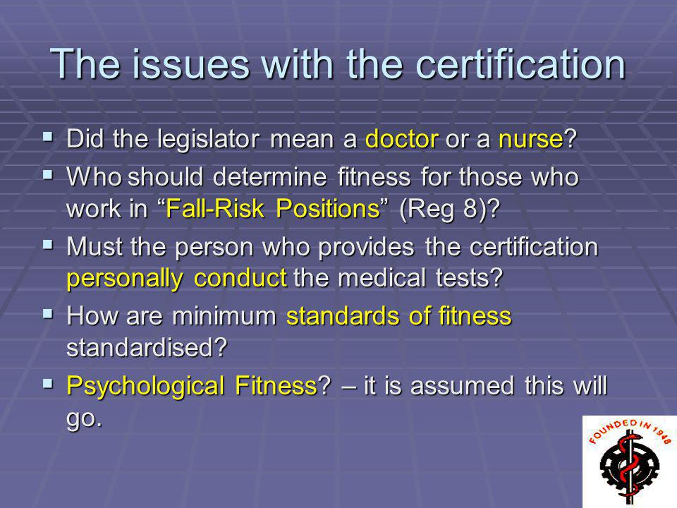The issues with the certification