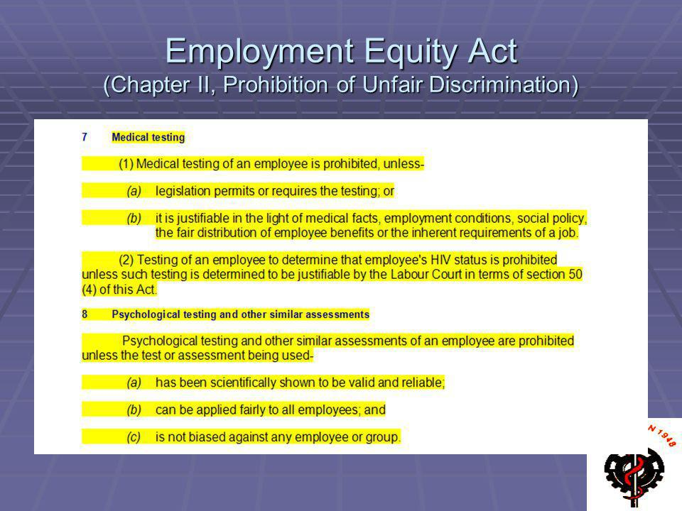Employment Equity Act (Chapter II, Prohibition of Unfair Discrimination)