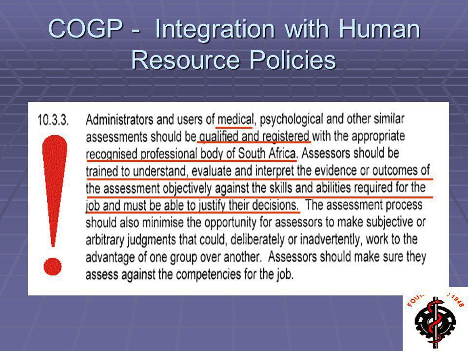 COGP - Integration with Human Resource Policies