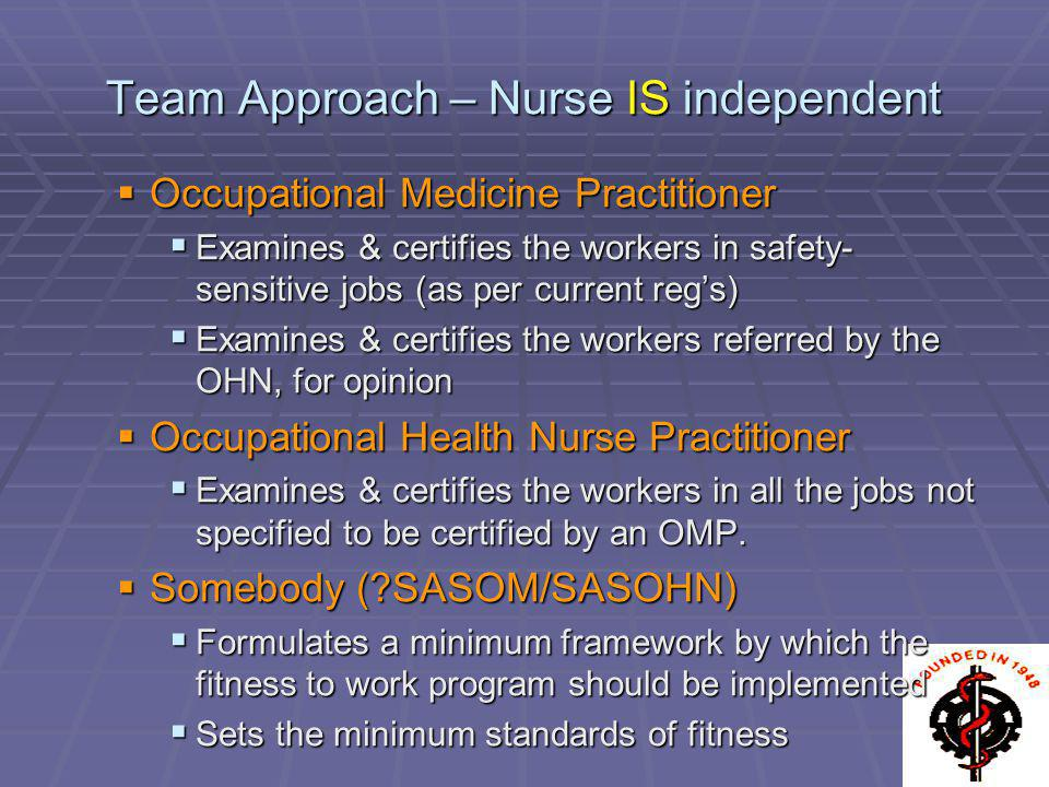 Team Approach – Nurse IS independent