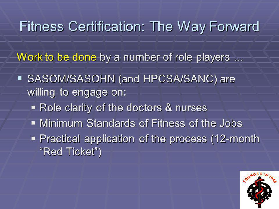 Fitness Certification: The Way Forward