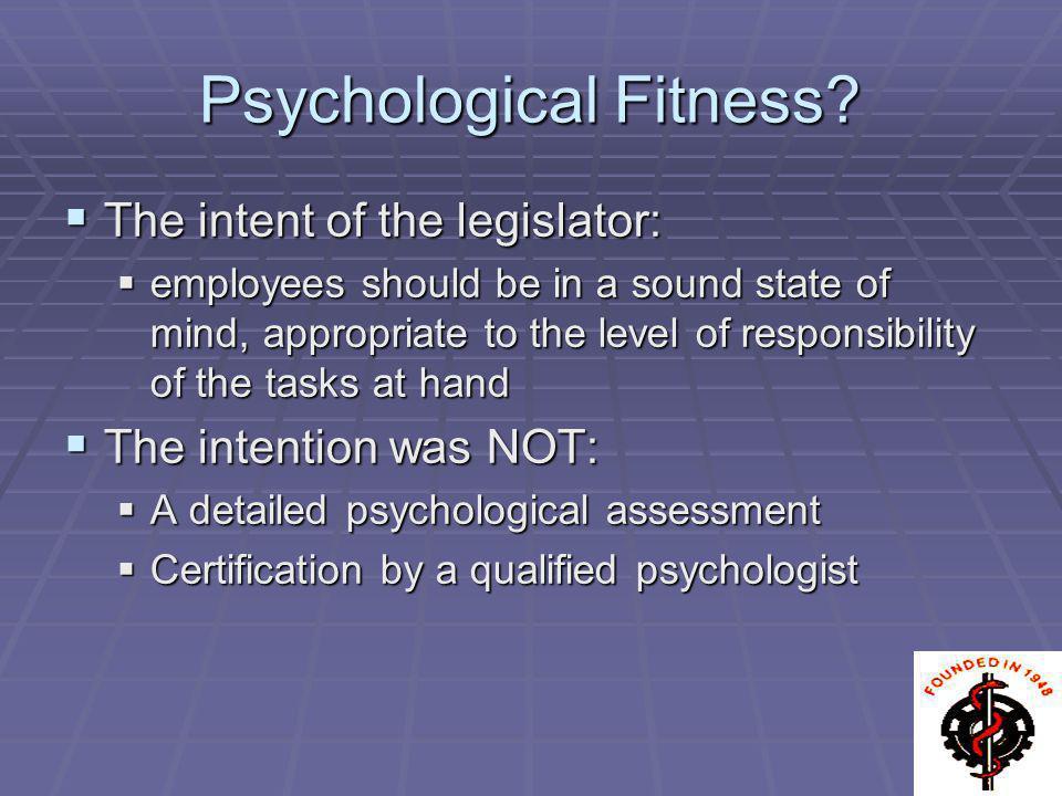 Psychological Fitness