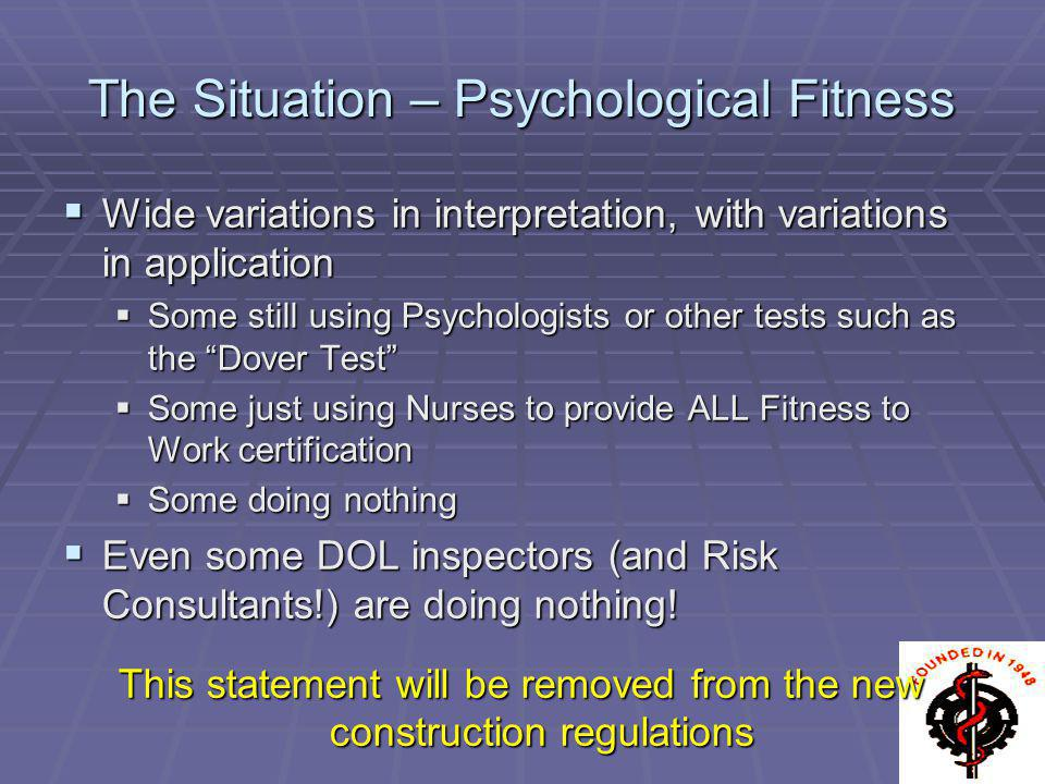 The Situation – Psychological Fitness