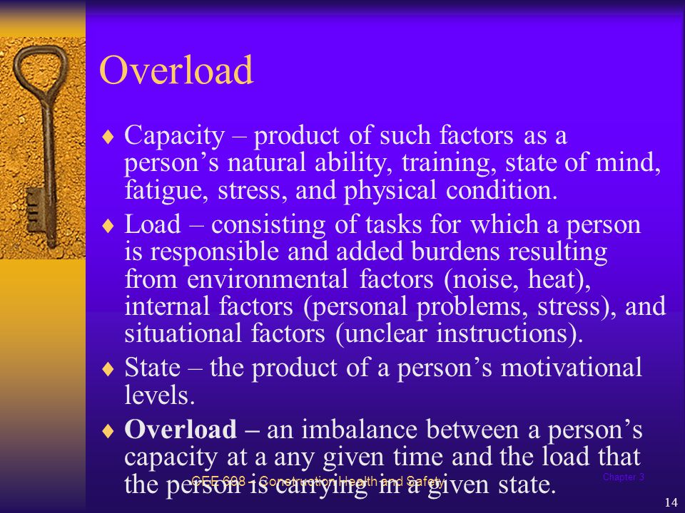 Overload Capacity – product of such factors as a person's natural ability, training, state of mind, fatigue, stress, and physical condition.