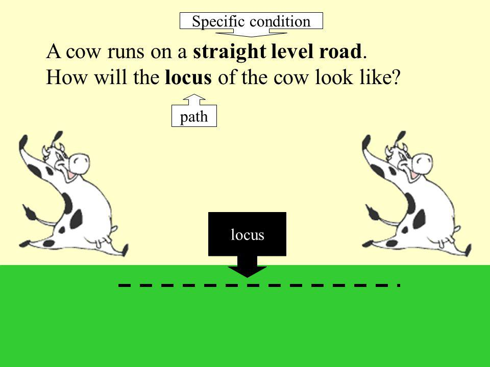 Specific condition A cow runs on a straight level road. How will the locus of the cow look like path.