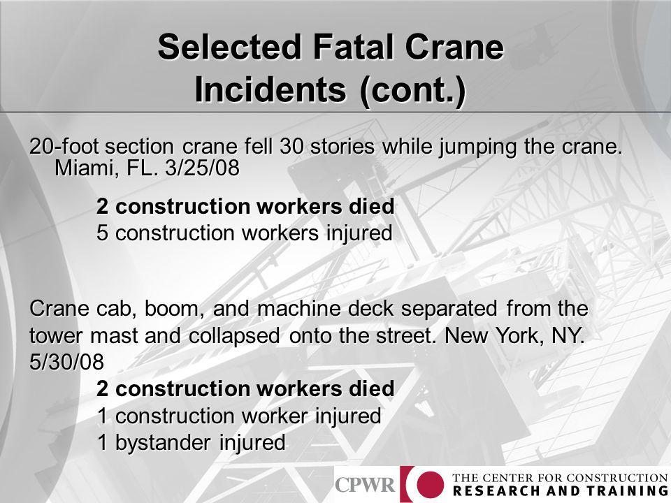 Selected Fatal Crane Incidents (cont.)