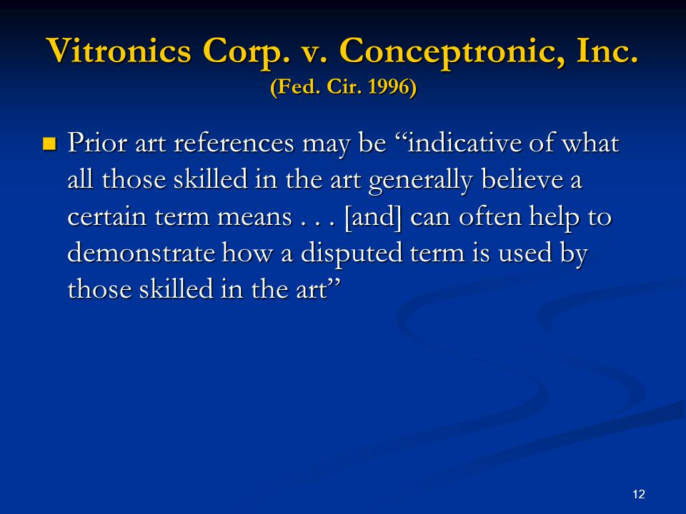 Vitronics Corp. v. Conceptronic, Inc. (Fed. Cir. 1996)