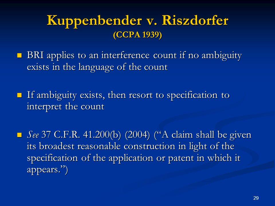 Kuppenbender v. Riszdorfer (CCPA 1939)