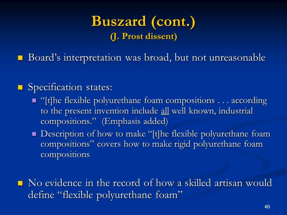 Buszard (cont.) (J. Prost dissent)