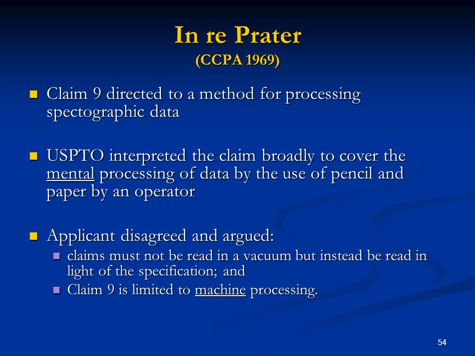 In re Prater (CCPA 1969) Claim 9 directed to a method for processing spectographic data.