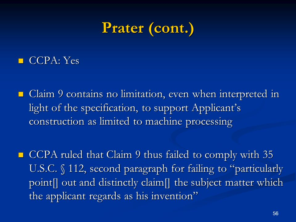 Prater (cont.) CCPA: Yes