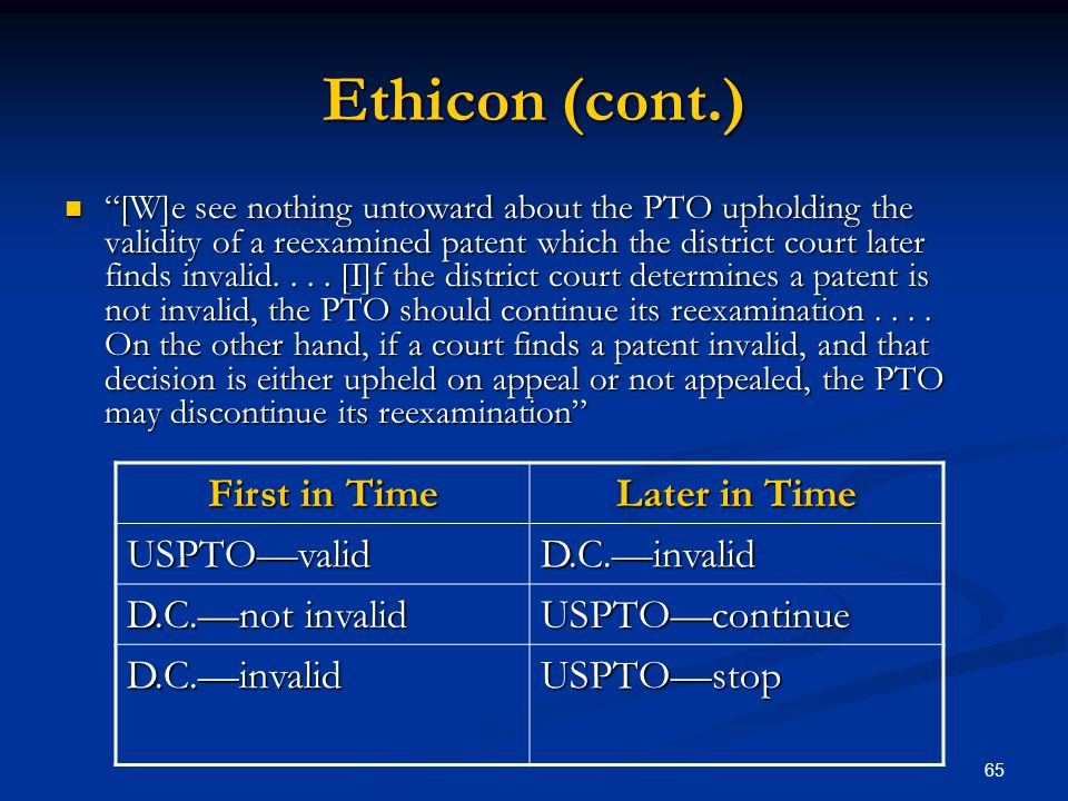 Ethicon (cont.) First in Time Later in Time USPTO—valid D.C.—invalid
