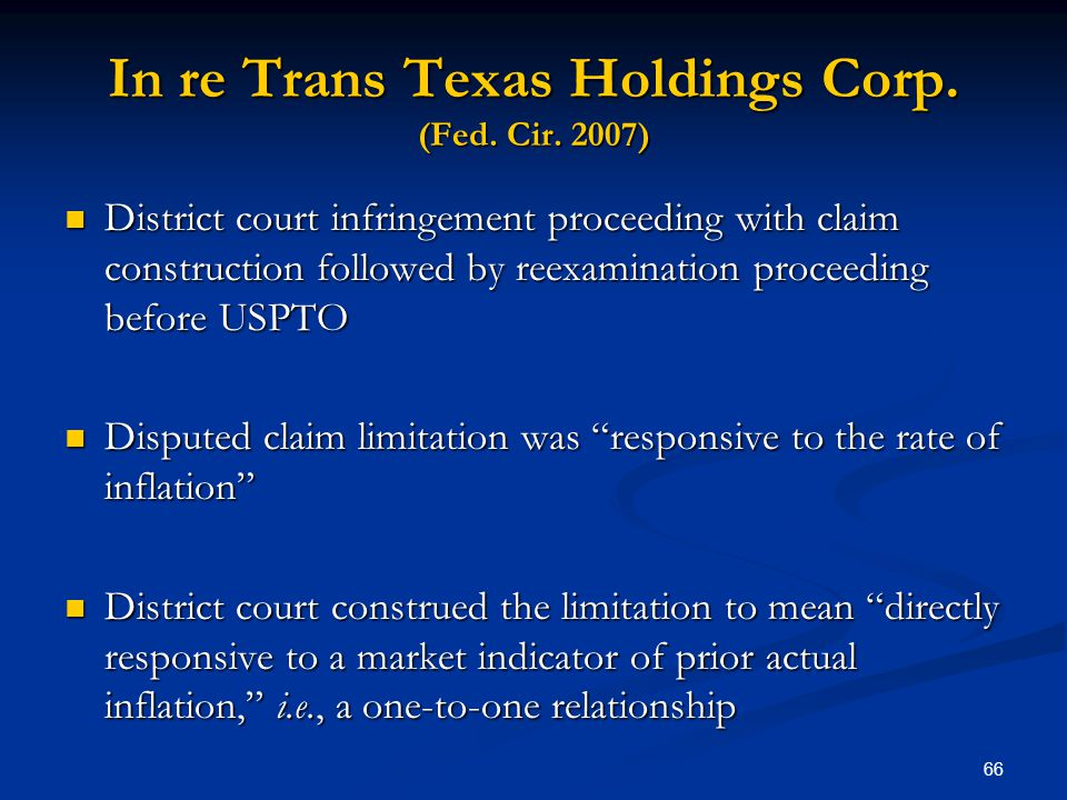 In re Trans Texas Holdings Corp. (Fed. Cir. 2007)